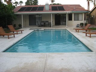 Cathedral City house photo - pool with lounge chairs and barbecue