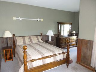 Jefferson farmhouse photo - Large bedroom second floor with queen sized bed and view of pond.