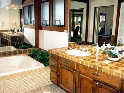 Master Bath & Jacuzzi, Lg Shower with seating & handicap bars-shower & commode