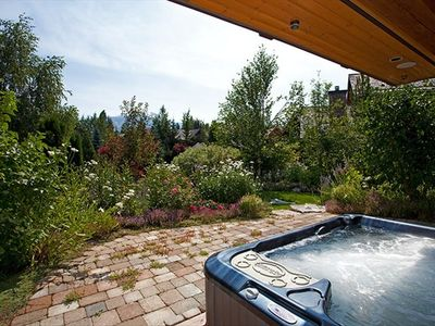 8 person hot tub overlooking garden