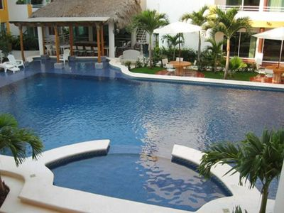 Bucerias condo rental - Complex with pool View and pool table and gym in back left corner