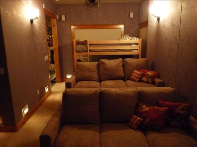 Bunk Beds and Convertible Sofa in Home Theater