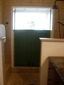 Chocolate Hole cottage rental - Pebbled shower with view