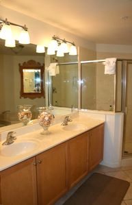 Master Bathroom with walk in shower, double vanity and jetted tub.