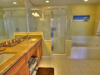 Champions Gate villa photo - Master bathroom with walkin shower, roman tub, two sinks with granite counters