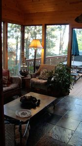 The slate-tiled sunporch is a popular location for morning coffee.