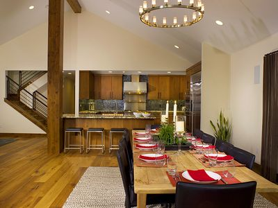 The dining room has a reclaimed pine table that seats ten