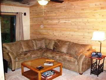 Cozy finished basement provides a quiet retreat to snuggle up or watch a movie.