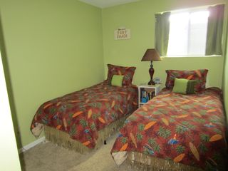 Moneta condo photo - Second bedroom with twin beds, pillow top mattresses, and TV/DVD player