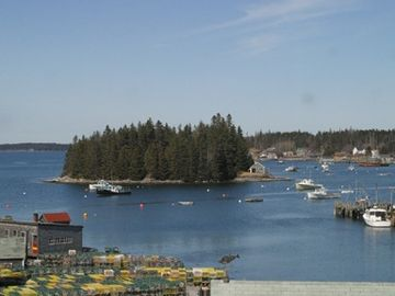 Port Clyde cottage rental - View of Rasberry Island from back deck.