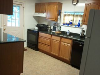Austin farmhouse photo - kitchen: electric stove, microwave & dishwasher, etc.