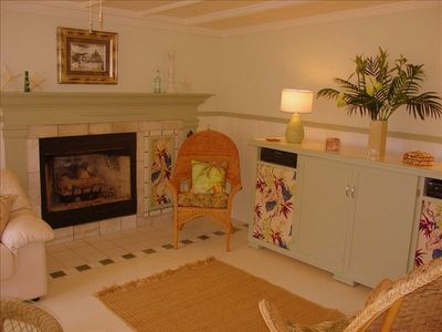 Partial View-Living Rm w/Romantic Cozy Fireplace-Furnished w/Art Deco Features!!