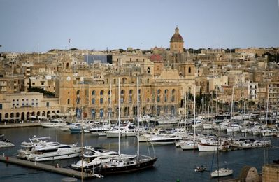 View from deck overlooking Birgu and Grand Harbour Marina