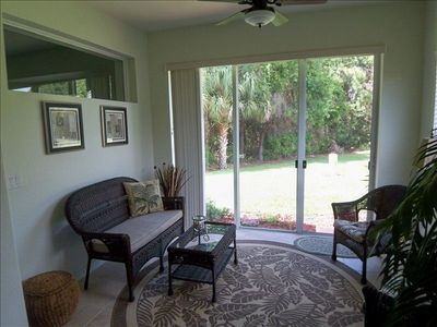 Relax and read or enjoy your favorite beverage in the lanai with A/C and fan.