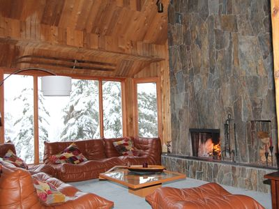 "Whistler chalet rental - Living room. Wood burning fireplace. 42"" HDTV, Cable, Nextflix, DVD."