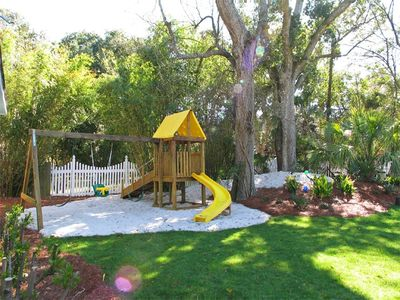 Playset in back yard next to pool