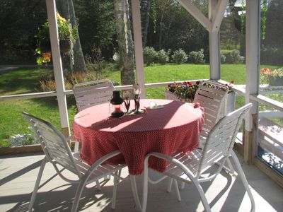 New Harbor cottage rental - candlelight meals in screened in porch, delicious