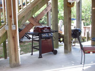 We have both a propane grill and a Weber charcoal grill for your vacation.
