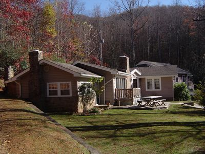 Mountain High and Creekside cabins sit 40 feet apart on over 2 wooded acres.