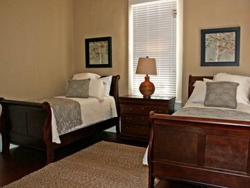 The third bedroom offers two twin beds plus room for an air mattress if needed.