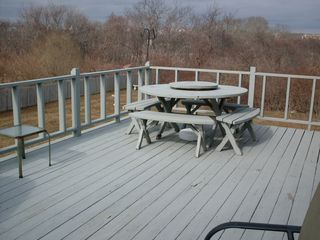 Point Judith house photo - Large deck with a family friendly picnic table, umbrellla to keep you of the sun