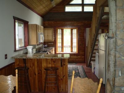 Kitchen in the cabin. Great for outdoor enthusiasts.