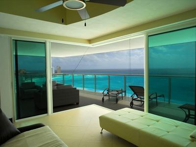 Exterior View of Caribbean from Guestroom #2 with all Glass Wall Sliding Doors