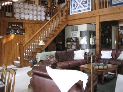 Tawas lodge rental - Great Room to Loft Area