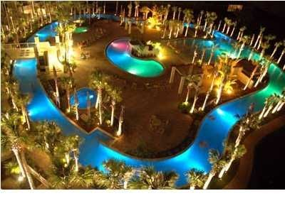 700 Sq Ft Lazy River at night