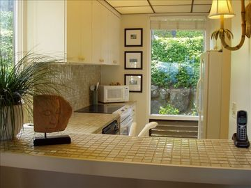 Fully equipped kitchen has views of gardens and ocean