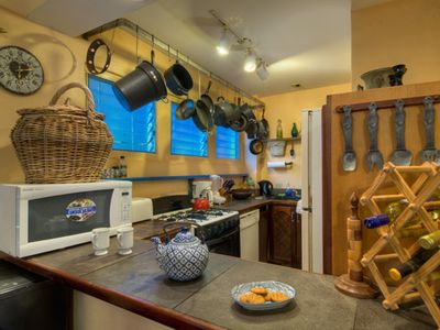 fully equipped kitchen w all appliances including dishwasher, microwave, etc