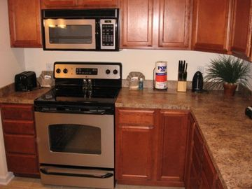 A different look at the kitchen--appliances have stainless look