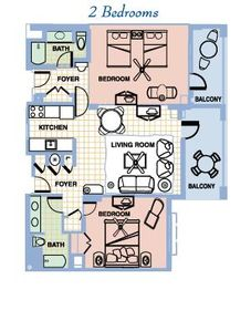 Our floor plan; all rooms and balconies face the ocean