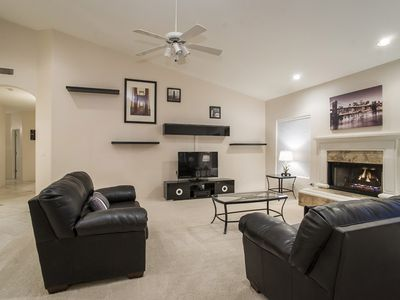 Family Room with Large Flatcreen TV and Gas Fireplace