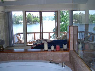 Full lake view from master bath and River Rock shower