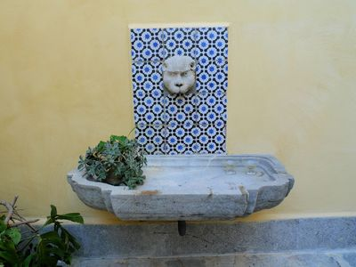 Cefalu villa rental - Water fountain in the internal courtyard