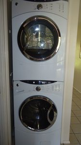 High quality large capacity stackable GE washer/dryer.