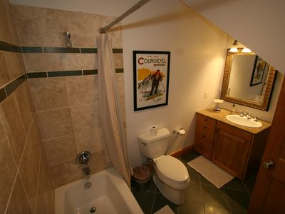 1st Fl Bathroom with Private Shower, Toilet and Vanity off Game Room