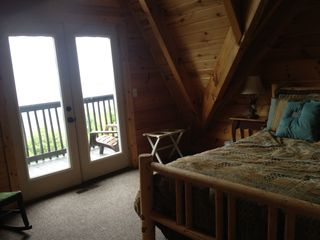 Sevierville chalet photo - Third floor bedroom with private deck - incredible views!
