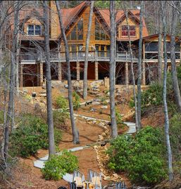 Lake Nantahala cabin rental - A gentle slope to make it to the water/dock along a dry river bed.