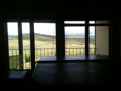 View from hot tub room onto the mountain valley.