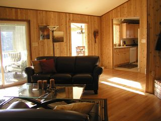 Brevard cottage photo - Great room with wood burning fireplace