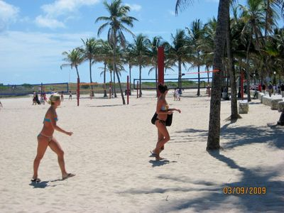 South Beach condo rental - Beach Volleyball across the street