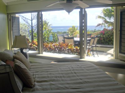 In our lower bedroom just sip that cup of coffee and soak in our ocean view.