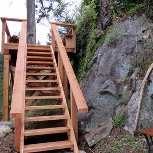 New staircase built around the rock to take you up to the Bird's Nest!