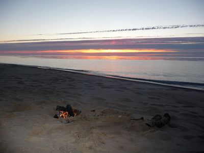 Manistee house rental - Evening at your private beach fire