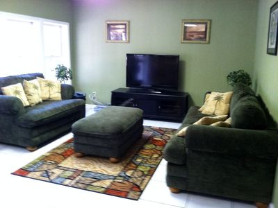 Basement Living Room with Flat Scren TV