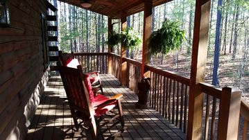 Lake Lure cabin rental - Rocking on the front porch with the deer and wild turkey!