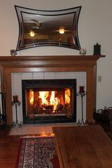 Kent house photo - Cozy fire in family room