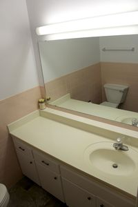Small bathroom with broad sinktop and Toto toilet.  Shower